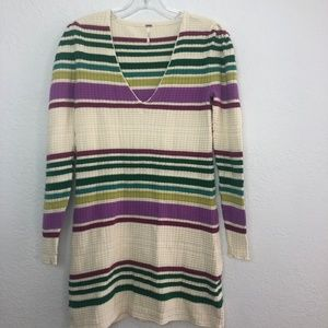 Free People Ribbed Striped Sweater Dress/ Tunic